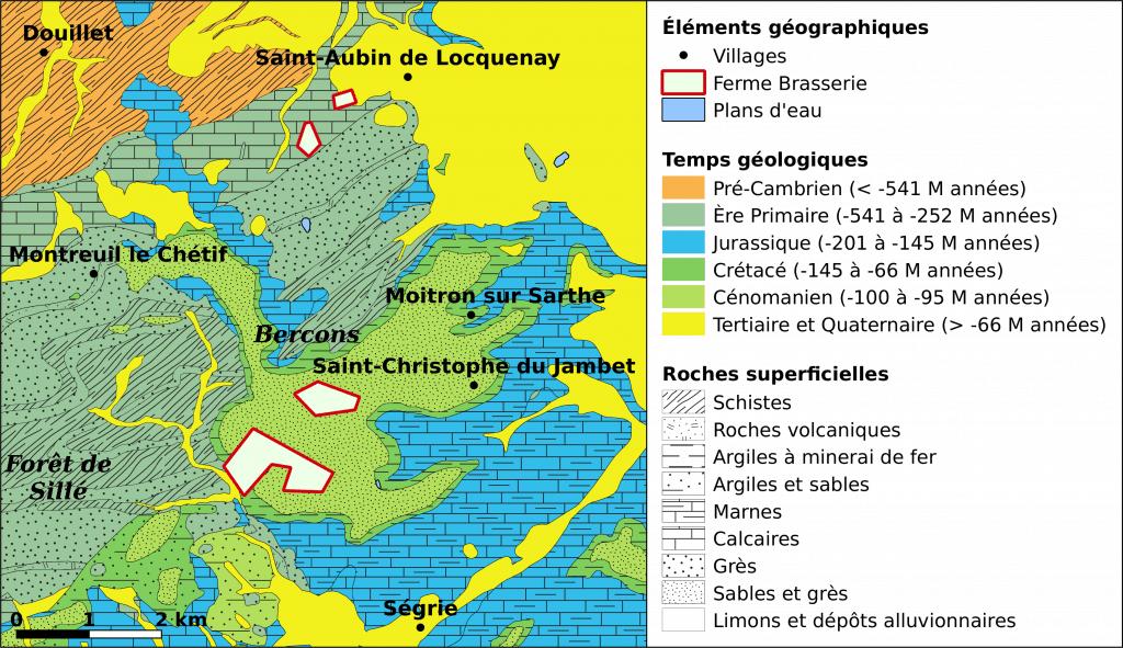 Carte géologique des environs de La Basse Lande.